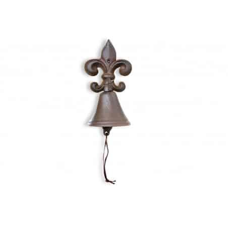 Cloche Fleur de Lys Fonte Marron 10x10.5x20.5cm