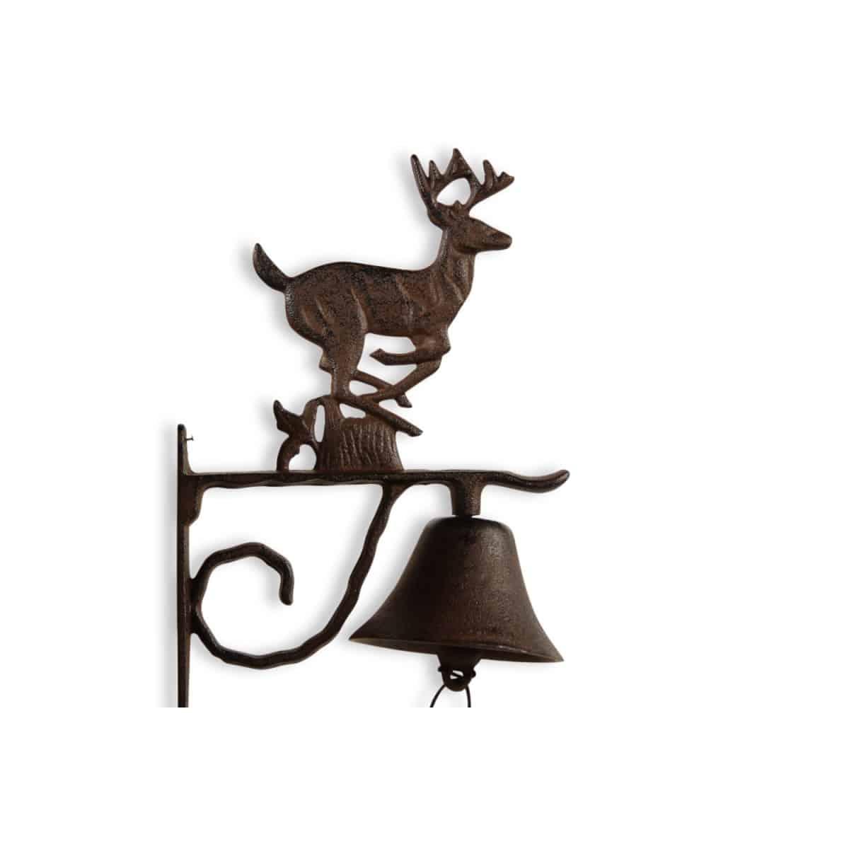 Cloche Cerf Fonte Marron 20.5x11.5x30cm