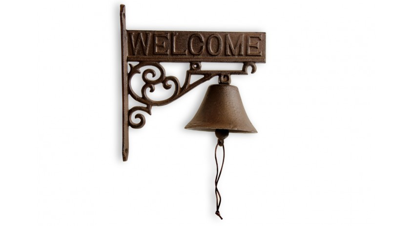 Cloche Welcome Fonte Marron 21.5x11x23cm