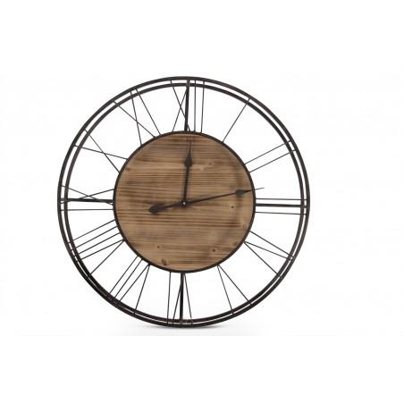 Grande Horloge Ancienne Bois Métal Marron 70x7x70cm