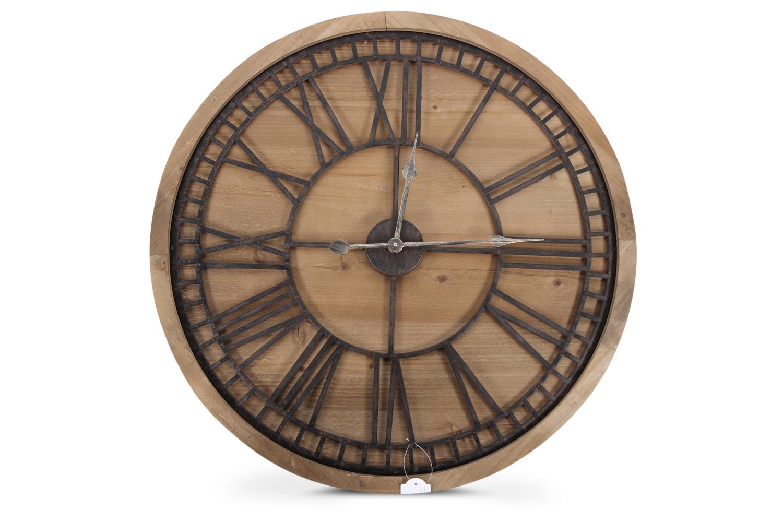 Grande Horloge Ancienne Bois Métal Marron 76x3x76cm