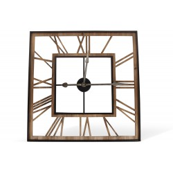 Grande Horloge Ancienne Carré Fer Forge Marron 80x4x80cm