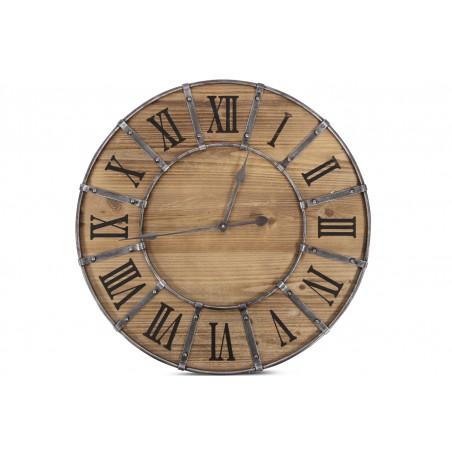 Grande Horloge Ancienne Bois Métal Marron 66x4x66cm