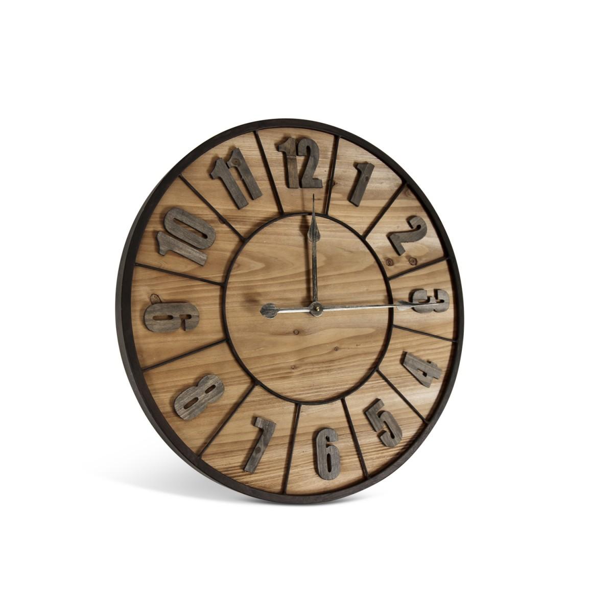 Grande Horloge Ancienne Bois Métal Marron 60x3.5x60cm
