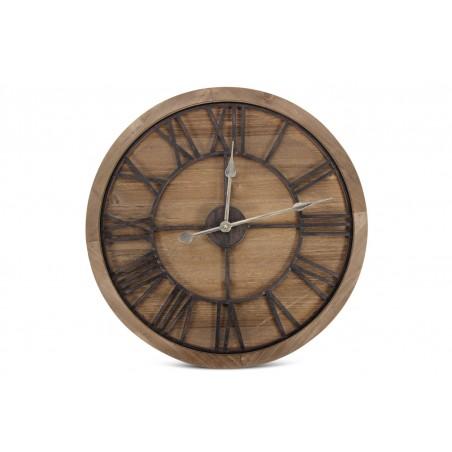 Grande Horloge Ancienne Bois Métal Marron 60x3x60cm