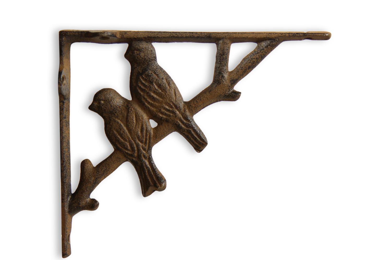 Crédence Oiseaux Fonte Marron 17.5x3.5x15cm