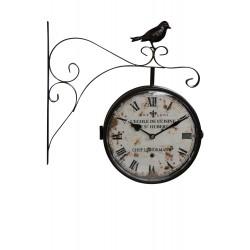 Horloge De Gare Ancienne Double Face L'Ecole de Cuisine Le St Hubert Fer Forge Blanc 24cm