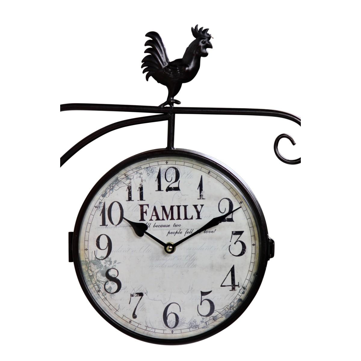 Horloge De Gare Ancienne Double Face Family Fer Forge Blanc 24cm