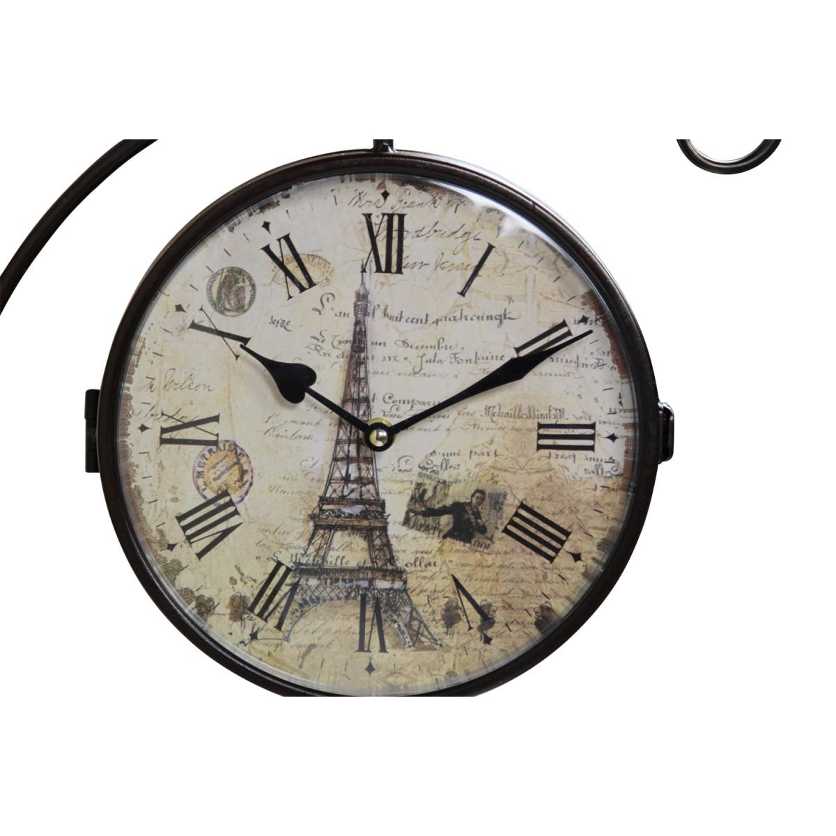 Horloge De Gare Ancienne Double Face Paris Tour Eiffel Fer Forge Blanc 24cm