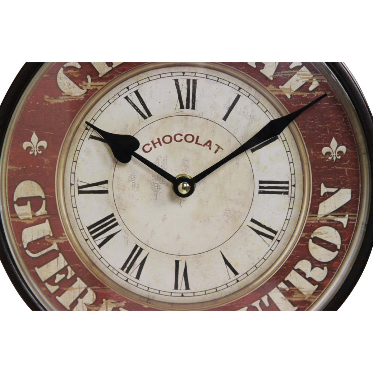 Horloge De Gare Ancienne Double Face Chocolat Guerin-Boutron Fer Forge Rouge-Bordeaux 24cm