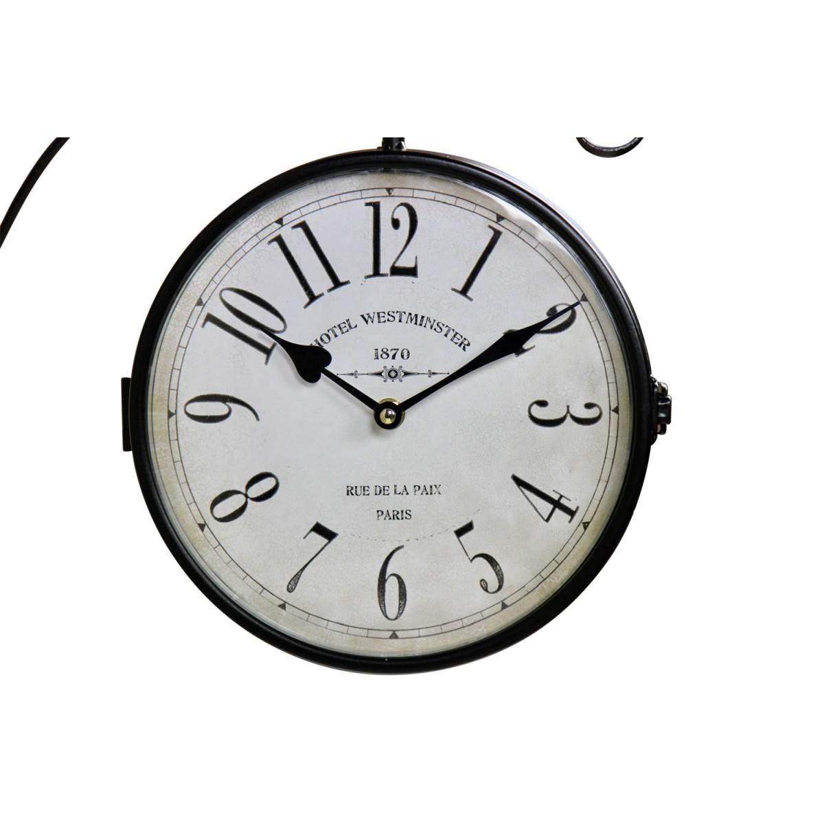Horloge De Gare Ancienne Double Face Hôtel Westminster Fer Forge Blanc 24cm