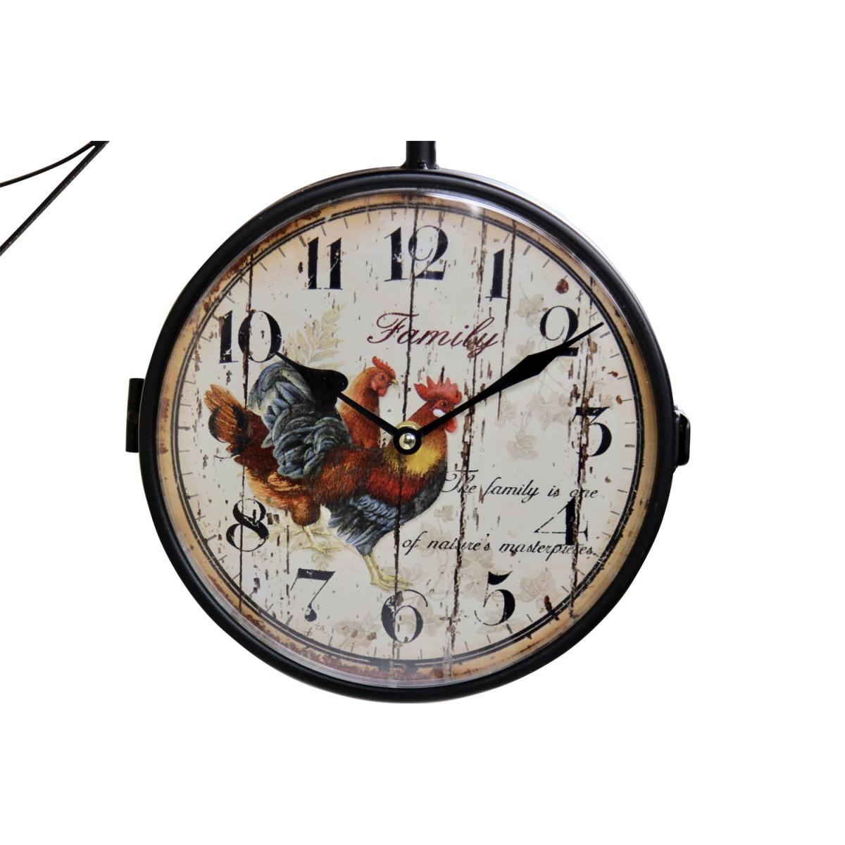 Horloge De Gare Ancienne Double Face Family Coq Fer Forge Blanc 24cm