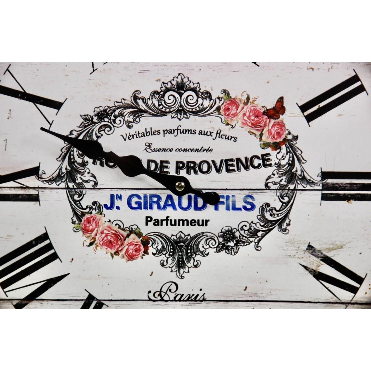 Horloge Ancienne Murale Rose de Provence Métal Blanc 47cm