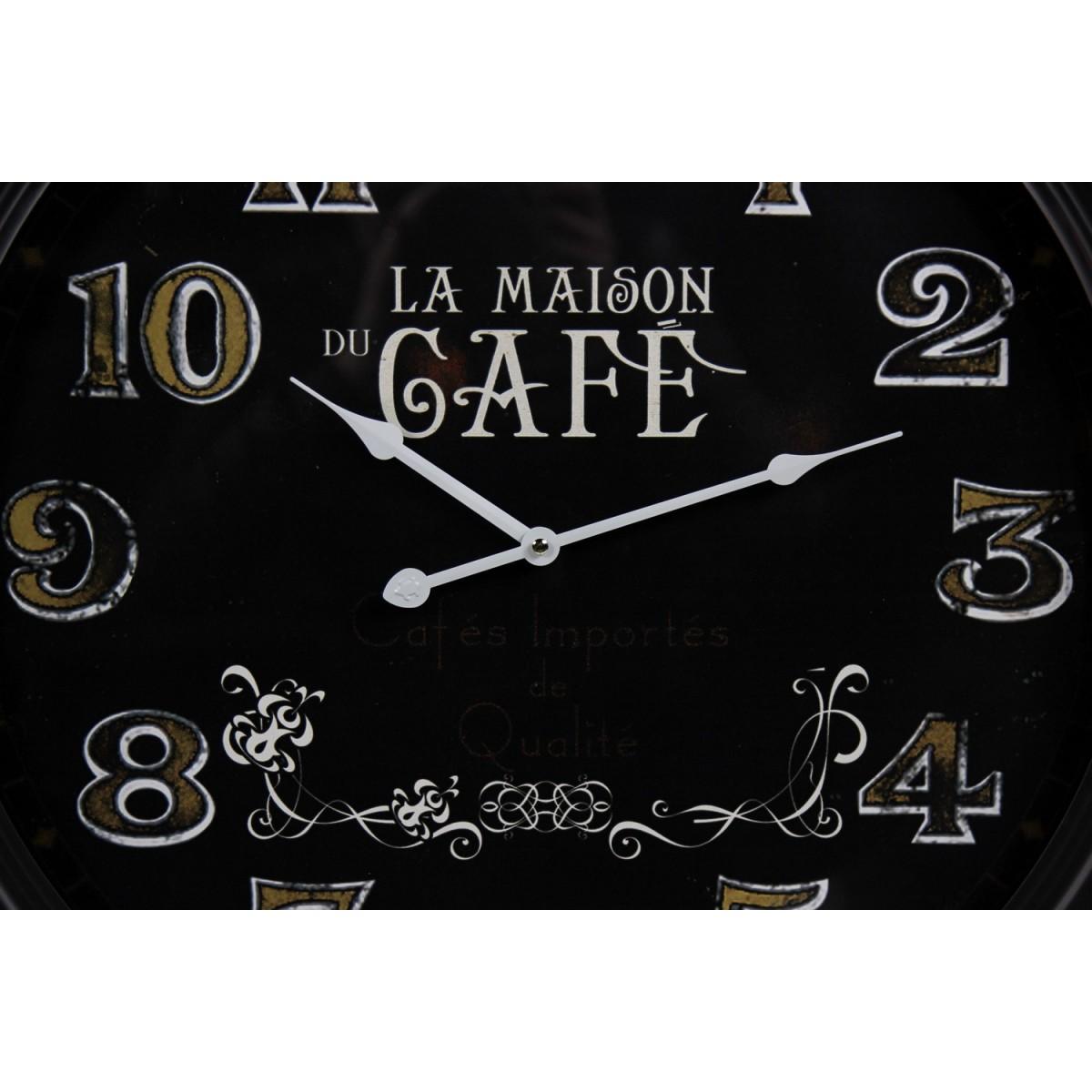 Horloge Ancienne Murale La Maison du Café Métal Noir 62cm