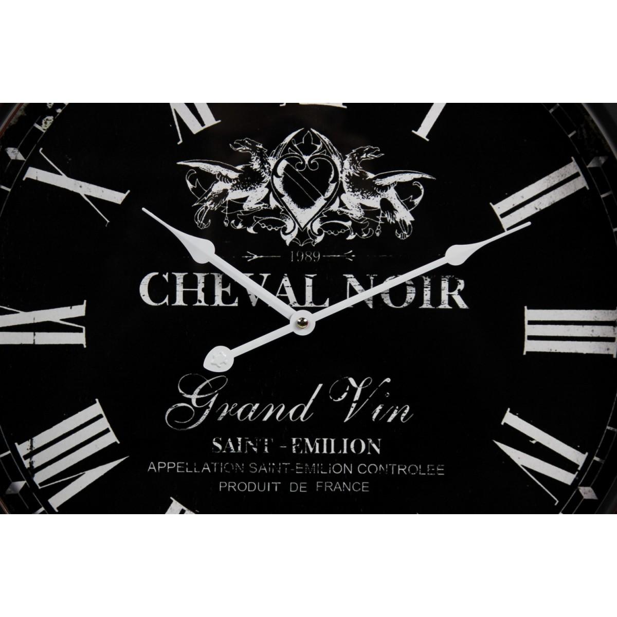 Horloge Ancienne Murale Cheval Noir Métal Noir 58cm