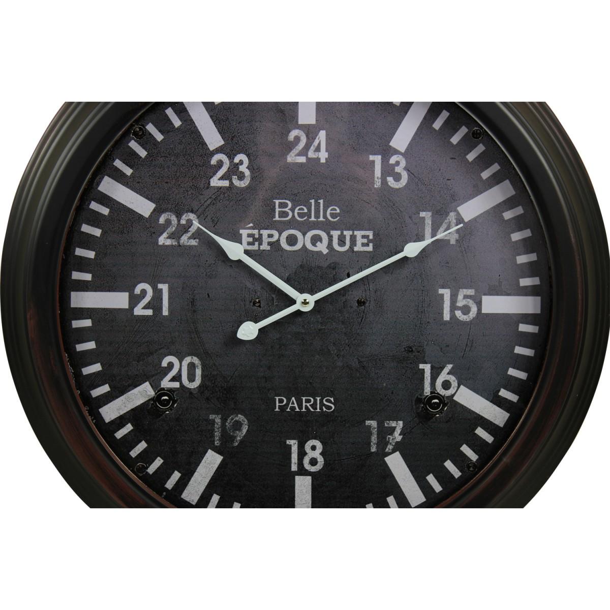 Horloge Ancienne Murale Belle Epoque Métal Gris 58cm