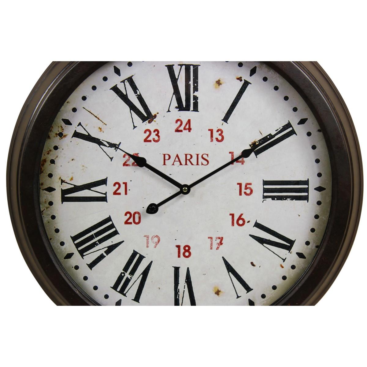 Horloge Ancienne Murale Paris Métal Blanc 58cm