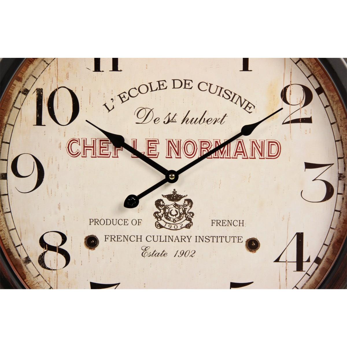 Horloge Ancienne Murale L'Ecole de Cuisine de St Hubert Métal Blanc 58cm
