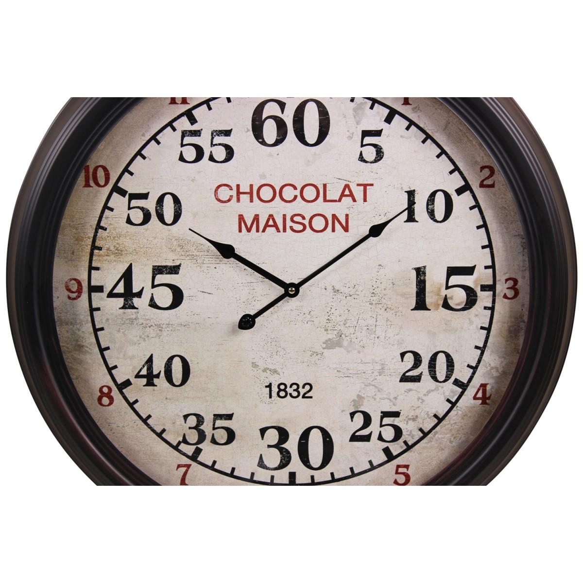 Horloge Ancienne Murale Chocolat Maison Métal Blanc 62cm