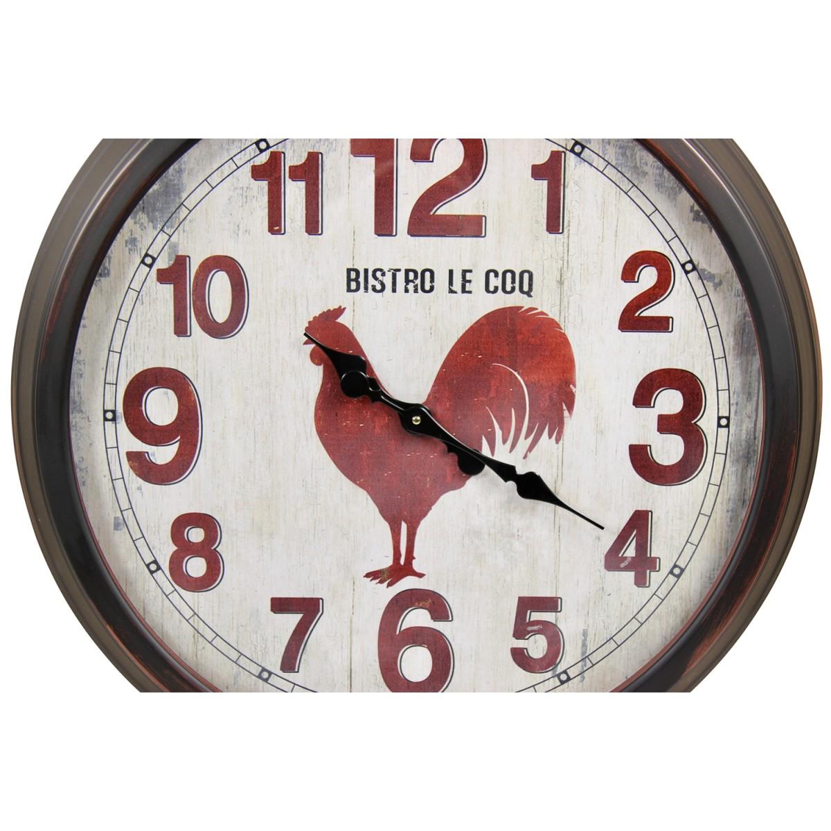 Grande Horloge Ancienne Murale Bistro le Coq Métal Rouge-Bordeaux 70cm