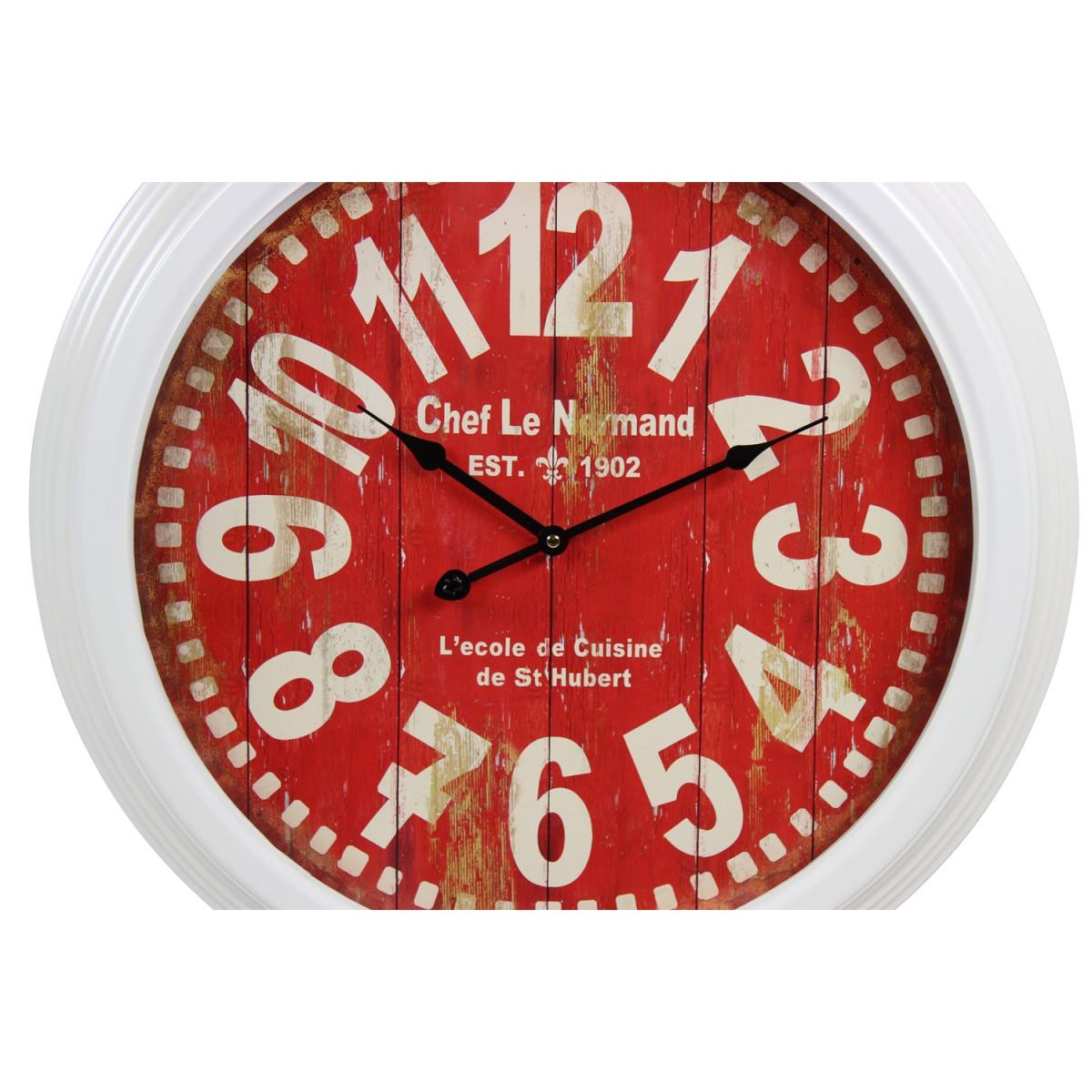Horloge Ancienne Murale Chef Le Normand Métal Rouge-Bordeaux 58cm