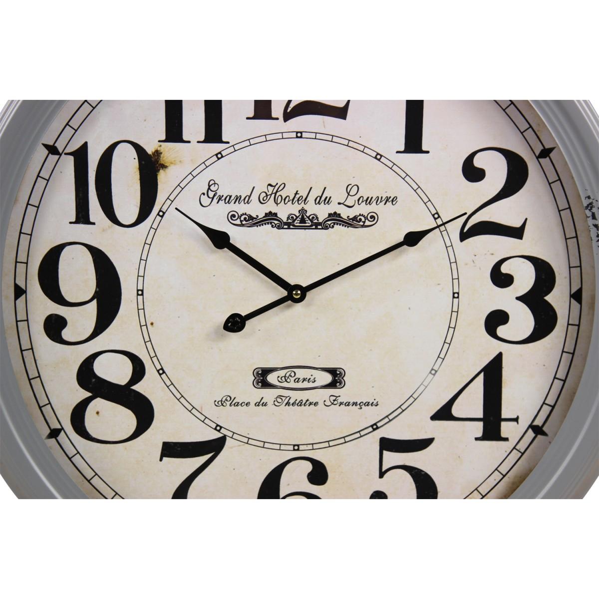 Horloge Ancienne Murale Grand Hôtel du Louvre Métal Gris 62cm