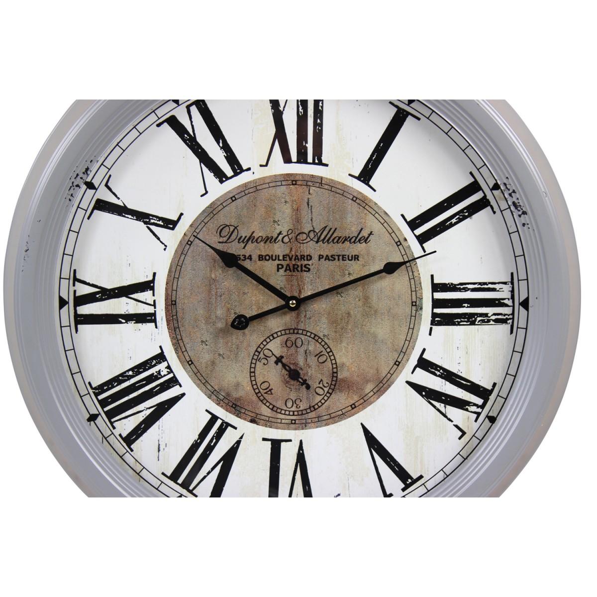 Horloge Ancienne Murale Dupont & Allardet Métal Gris 62cm