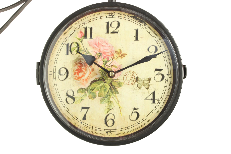 Horloge de gare ancienne double face bouquet de roses 24cm - Horloge gare double face ...