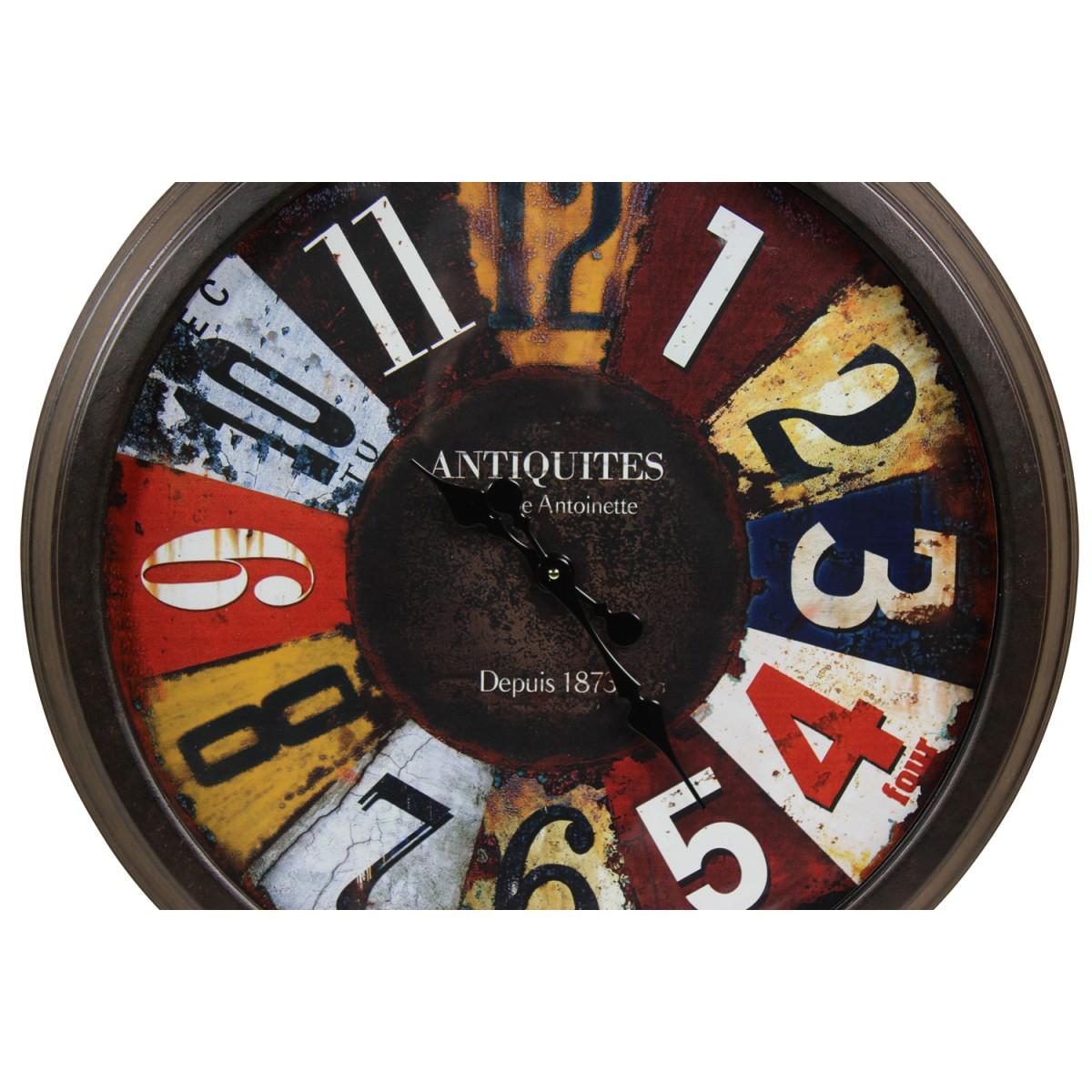 Grande Horloge Ancienne Murale Antiquités Métal Multicolore 70cm
