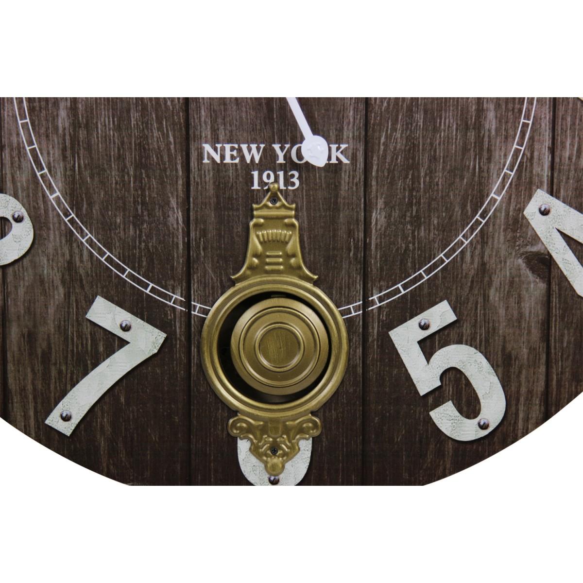 Horloge Ancienne Balancier Grand Central Station Bois Noir 58cm