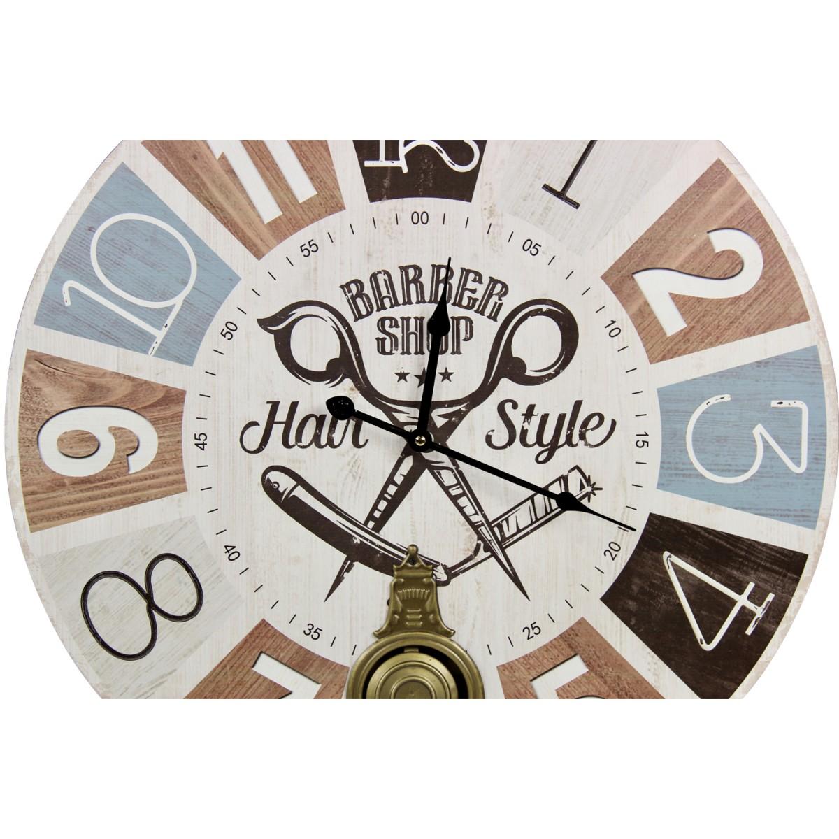 Horloge Ancienne Balancier Barber Shop Hair Style Bois Blanc 58cm