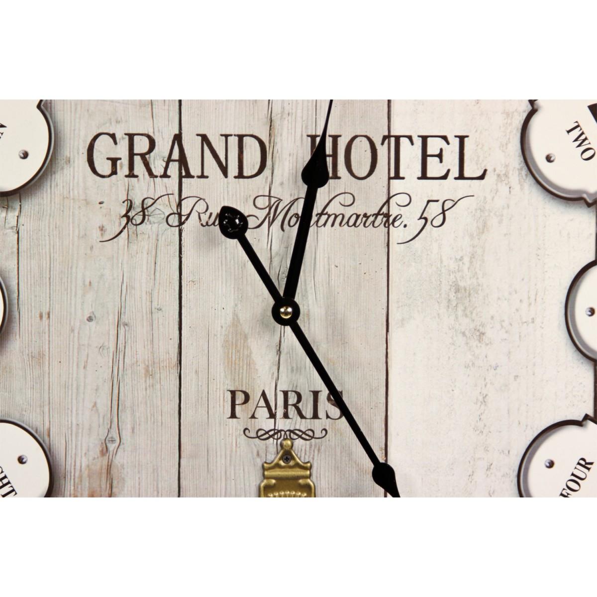 Horloge Ancienne Balancier Grand Hôtel Montmartre Bois Blanc 58cm