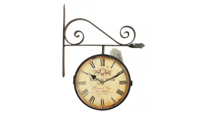 Horloge De Gare Ancienne Double Face Cheval Noir 24cm