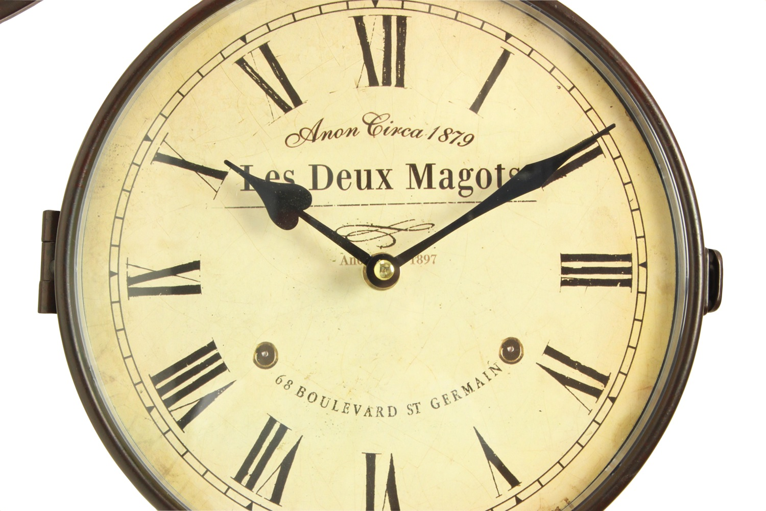 horloge de gare ancienne double face les deux magots 24cm. Black Bedroom Furniture Sets. Home Design Ideas