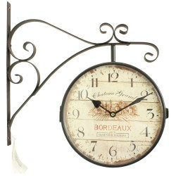 HORLOGE DE GARE ANCIENNE DOUBLE FACE CHATEAU GRAND BORDEAUX 24CM