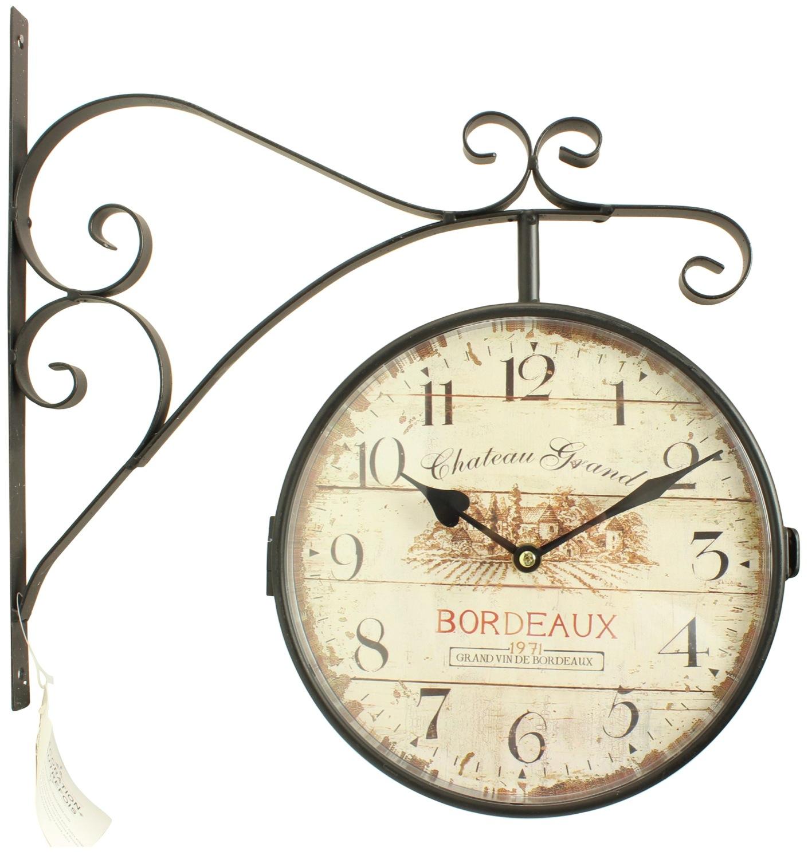Grosse Horloge Fer Forgé horloge de gare ancienne double face château grand bordeaux 24cm