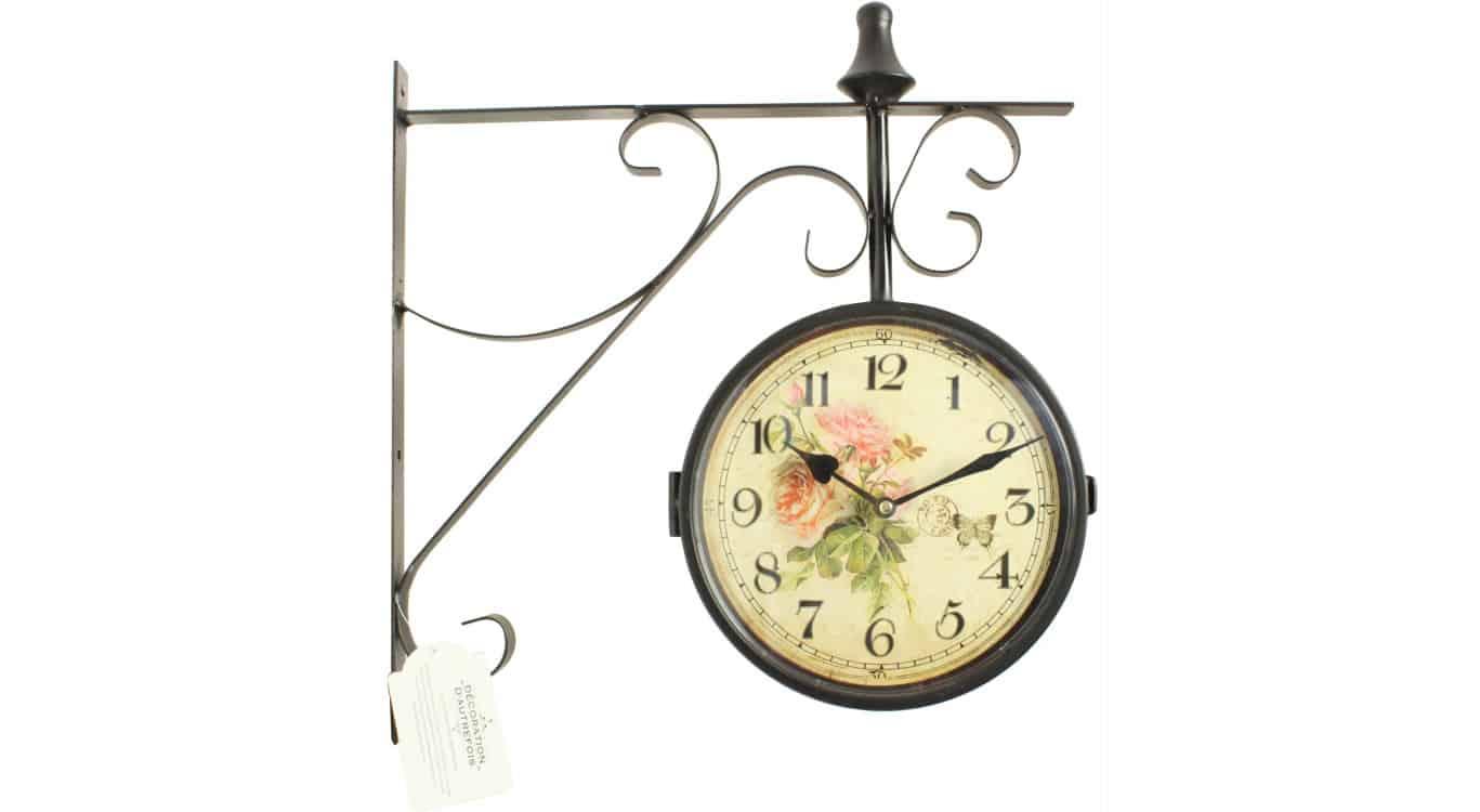 Horloge De Gare Ancienne Double Face Bouquet De Roses 24cm