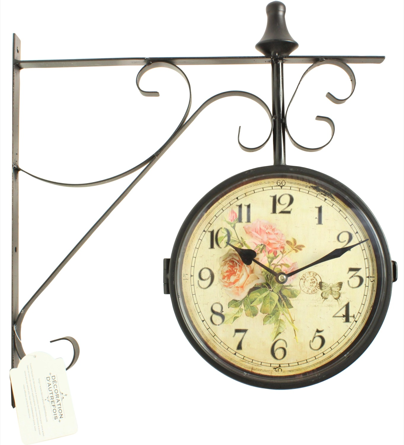 Horloge De Gare Ancienne Double Face Bouquet De Roses 24cm