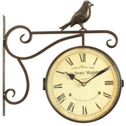 Horloge De Gare Ancienne Double Face Les Deux Magots 24cm