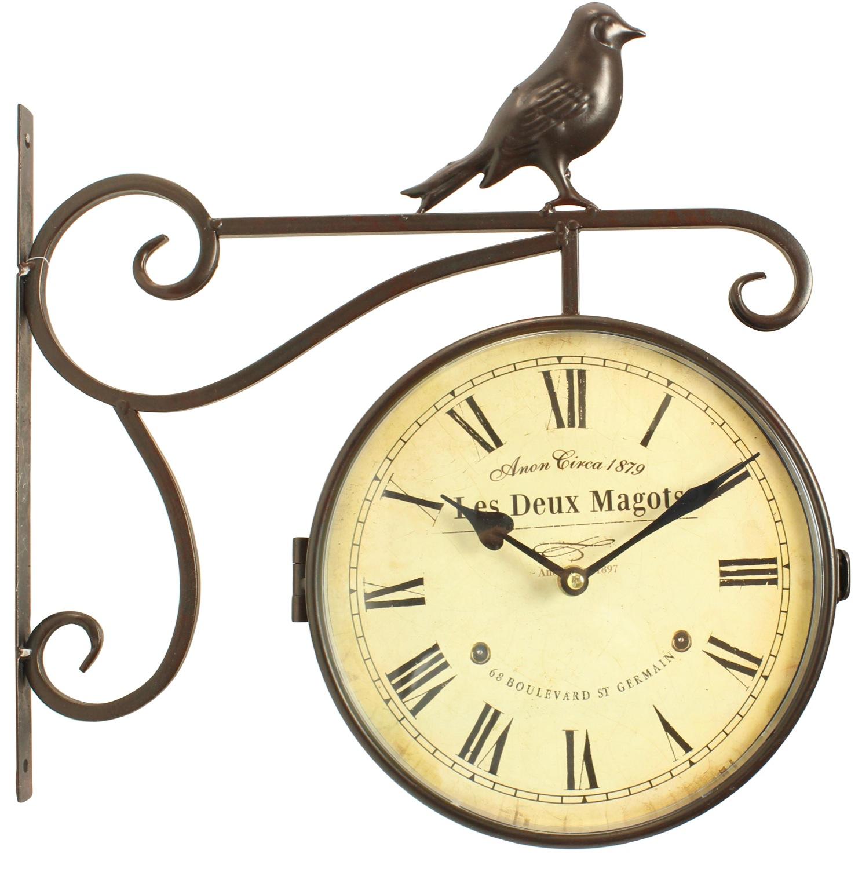 Horloge de gare ancienne double face les deux magots 24cm for Horloge murale de gare