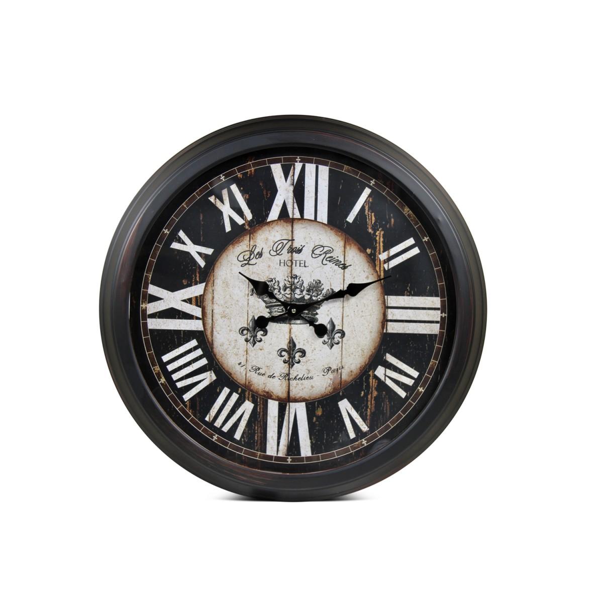 Grande Horloge Ancienne Murale Hôtel Les Trois Reines Métal Noir 70cm