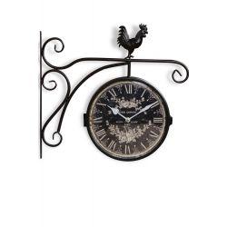 Horloge De Gare Ancienne Double Face Henri Dupont Fer Forge Noir 24cm