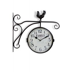 Horloge De Gare Ancienne Double Face Family Fer Forge Blanc 24cm