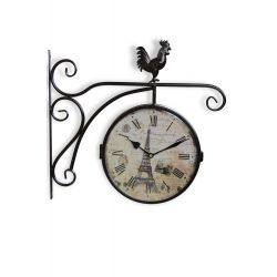 Horloge De Gare Ancienne Double Face Paris Tour Eiffel Fer Forge Blanc 24cm