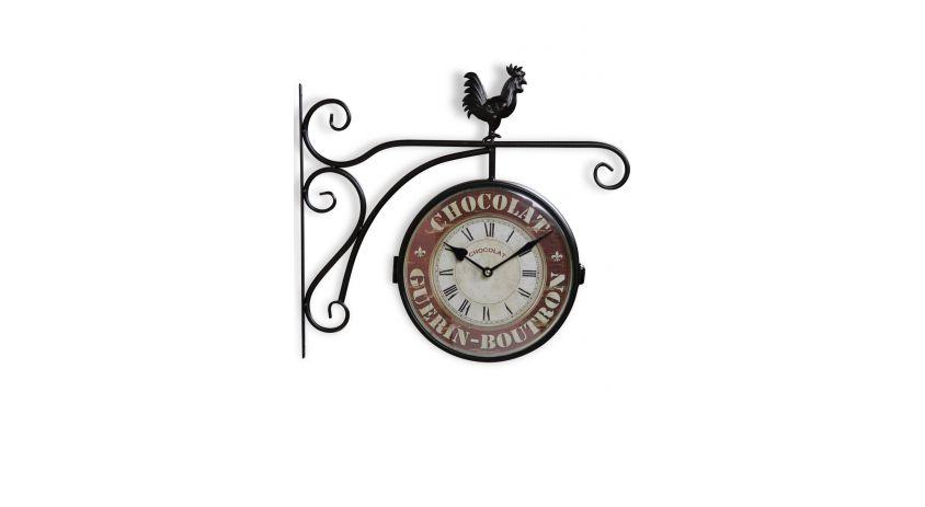 Horloge De Gare Ancienne Double Face Chocolat Guerin-Boutron Fer Forge Rouge-Bordeaux 24cm