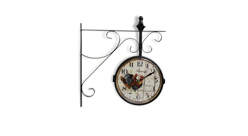 Horloge De Gare Ancienne Double Face Family Coq Fer Forge Blanc 24cm
