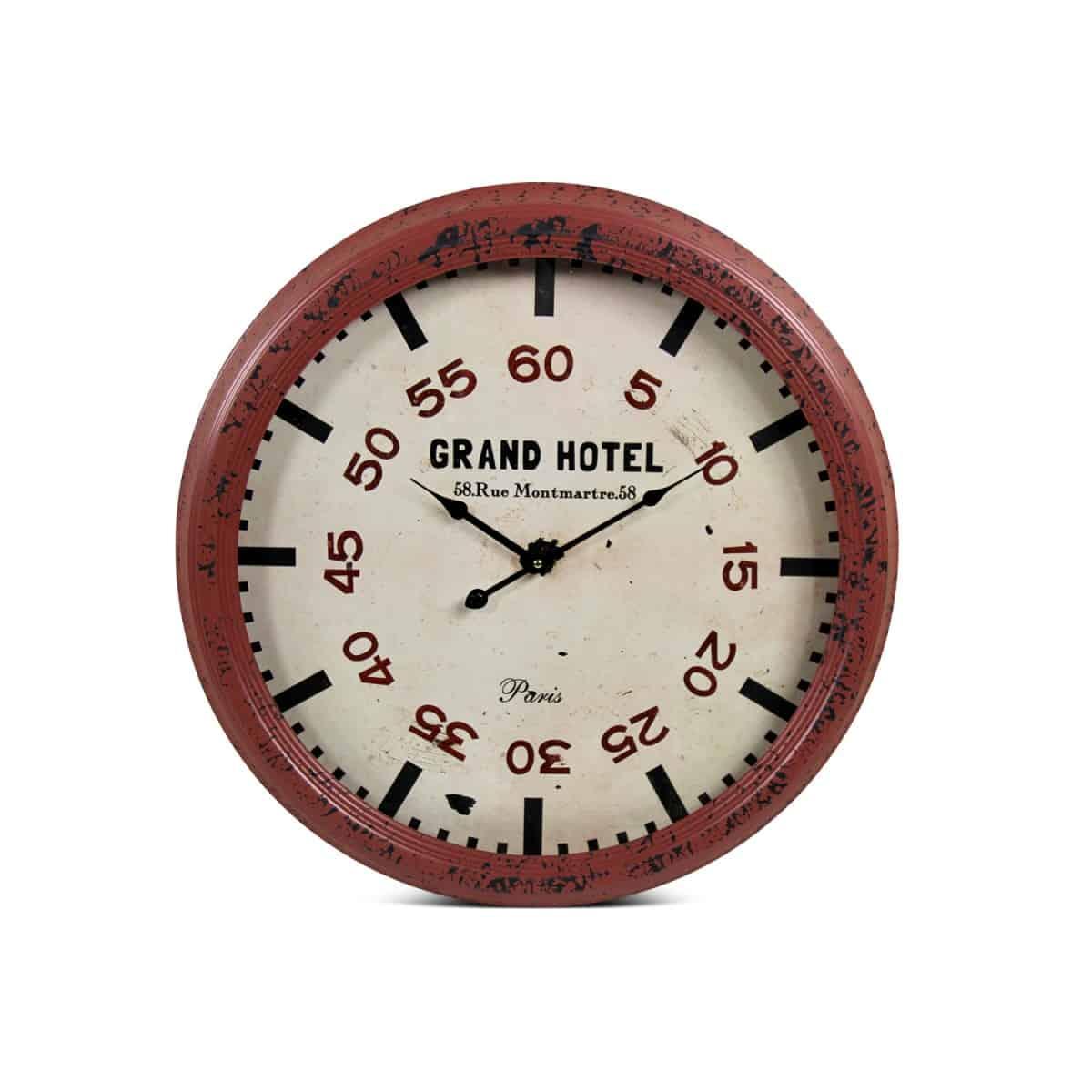 Horloge Ancienne Murale Grand Hôtel Métal Rouge-Bordeaux 62cm
