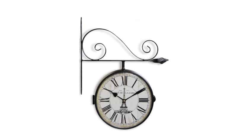 Horloge De Gare Ancienne Double Face Café de la Gare Tour Eiffel Fer Forge Blanc 24cm