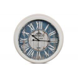 Horloge Ancienne Murale Bistrot de Paris Métal Bleu 58cm