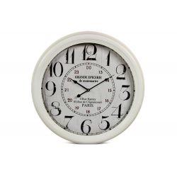 Horloge Ancienne Murale Grande Epicerie de Monmartre Métal Blanc 62cm
